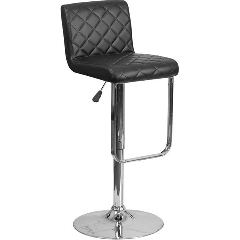 Flash Furniture Quilted Vinyl Adjustable Barstool with Chrome Base - Bar Stool Co.