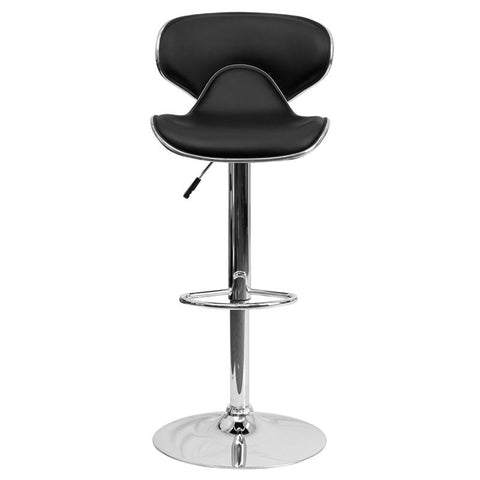Flash Furniture DS 815 Cozy Mid Back Vinyl Adjustable Height Bar Stool   Bar