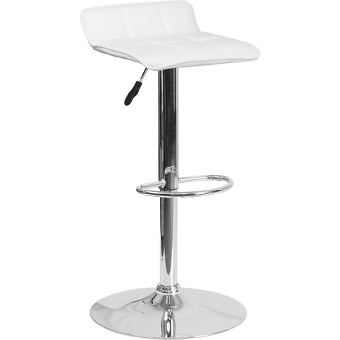 Adjustable Height Low Back Bar Stool with Chrome Base - Bar Stool Co.