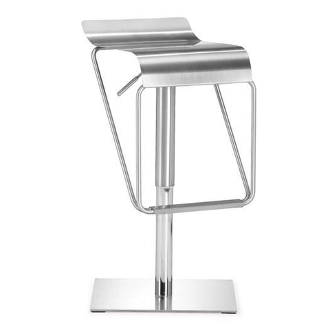 Zuo Modern 300193 Adjustable Height Dazzer Swivel Barstool, Stainless Steel - Bar Stool Co.
