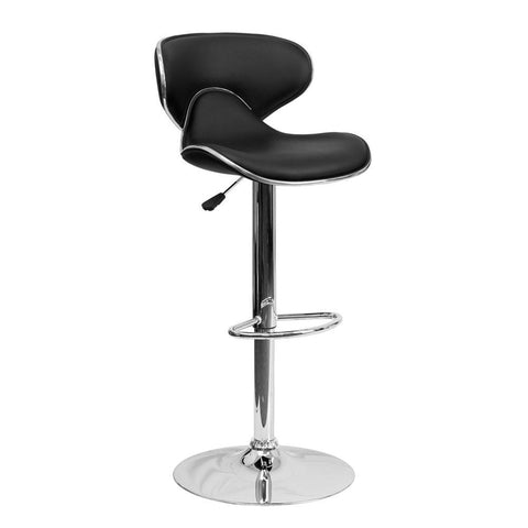 Flash Furniture DS-815 Cozy Mid-Back Vinyl Adjustable Height Bar Stool - Bar Stool Co.