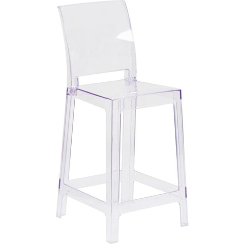 "Clear 25"" Counter Stool with Square Back"
