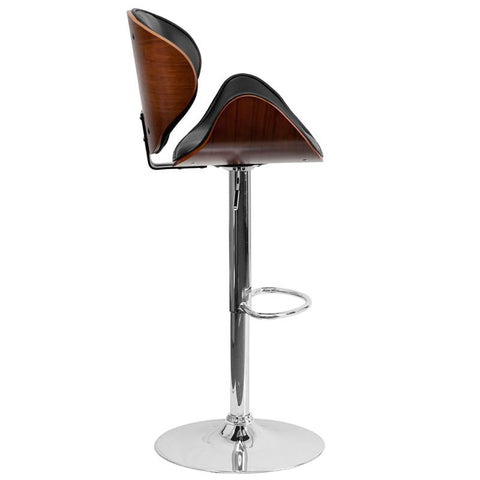 Delicieux Walnut Bentwood Adjustable Height Barstool With Curved Black Vinyl Seat And  Back   Bar Stool Co