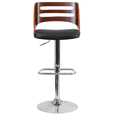 Flash Furniture Walnut Bentwood Adjustable Height Swivel Barstool With  Black Vinyl Seat And Cutout Back [