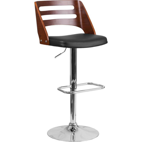Delightful Flash Furniture Walnut Bentwood Adjustable Height Swivel Barstool With  Black Vinyl Seat And Cutout Back [