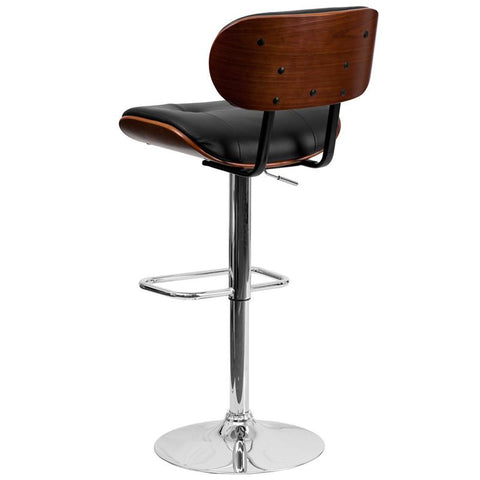 Flash Furniture Walnut Bentwood Adjustable Height Bar Stool With Button  Tufted Black Vinyl Upholstery   Bar