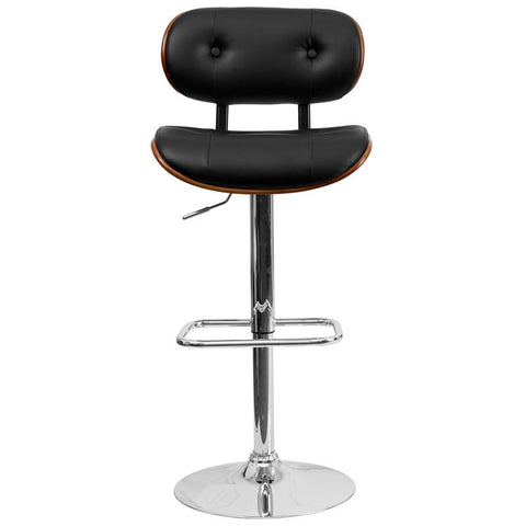 Flash Furniture Walnut Bentwood Adjustable Height Bar Stool with Button Tufted Black Vinyl Upholstery - Bar  sc 1 st  Bar Stool Co. - Shopify & Flash Furniture Walnut Bentwood Adjustable Height Bar Stool with ... islam-shia.org