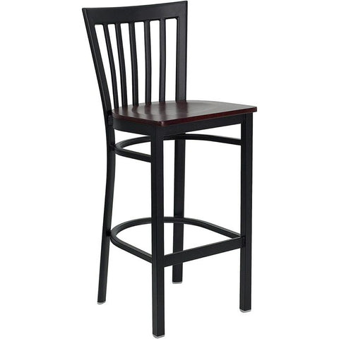 Flash Furniture HERCULES School House Back Metal Restaurant Bar Stool with Mahogany Wood Seat - Bar Stool Co.