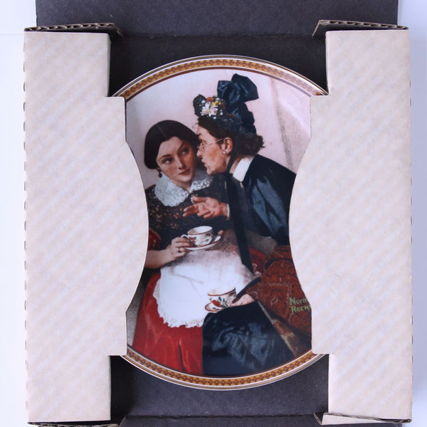 "Norman Rockwell Knowles Plate ""Gossiping in the Alcove"" - Flotsam from Michigan  - 2"