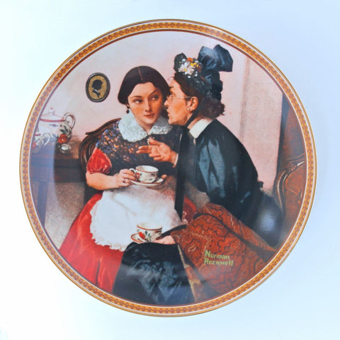 Norman Rockwell Knowles Plate 'Gossiping in the Alcove'