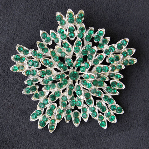 11 W 30th St Layered Green Rhinestone Star Brooch Pin - Flotsam from Michigan - 1