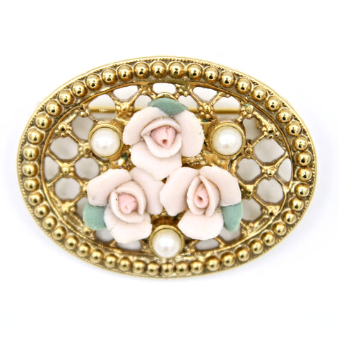 1928 Bisque Roses Brooch - Flotsam from Michigan - 1