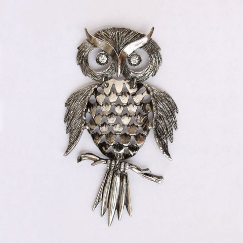 Silvertone 3-Part Owl w/ Rhinestone Eyes Pendant Only