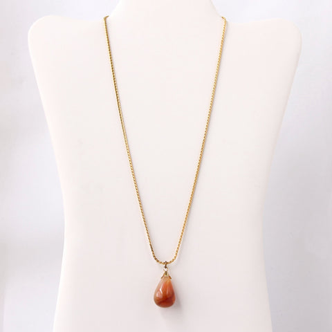 Agate Teardrop Pendant on Goldtone Chain - Flotsam from Michigan  - 1