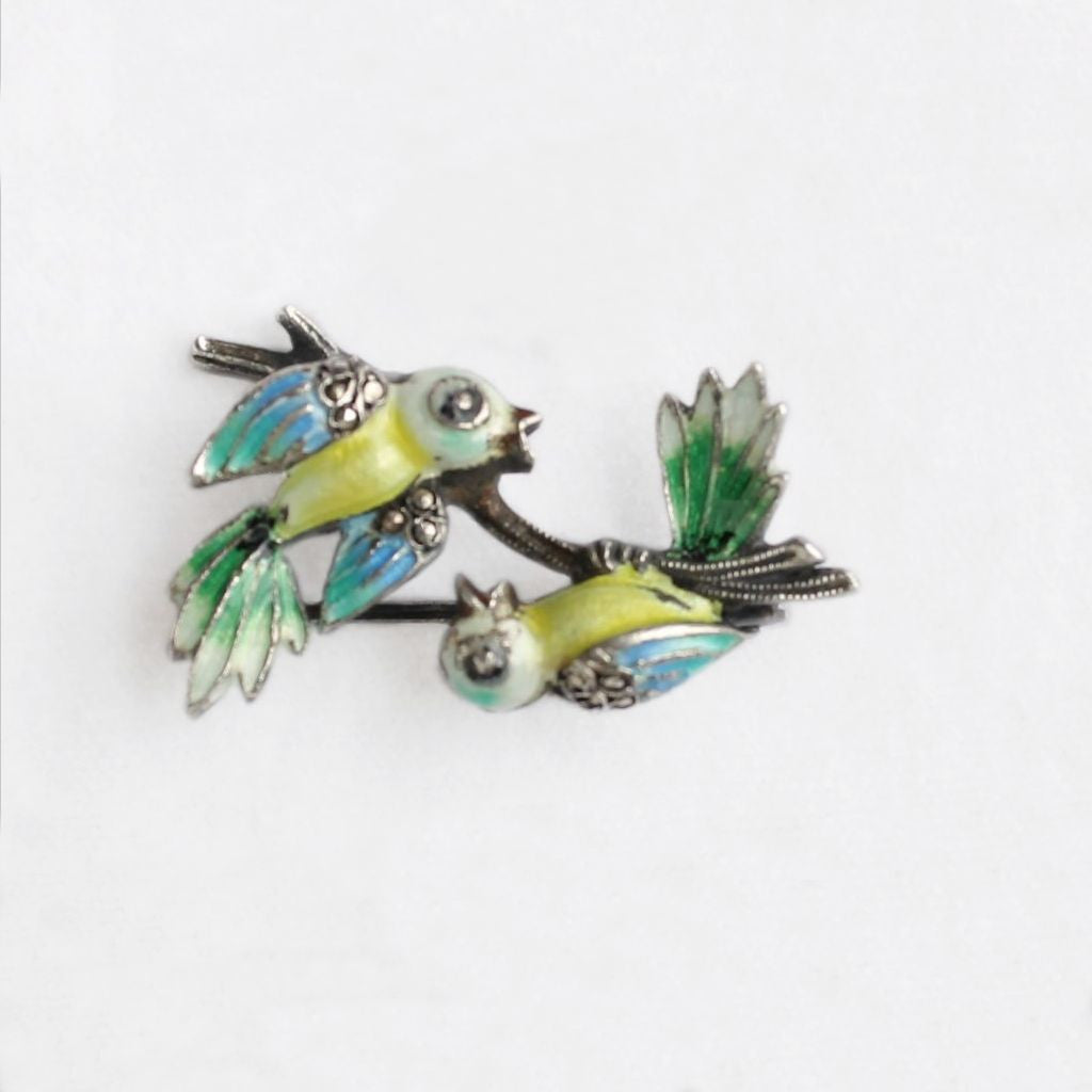 Alice Caviness Sterling Enamel & Marcasites Birds on a Branch Pin - Flotsam from Michigan - 1