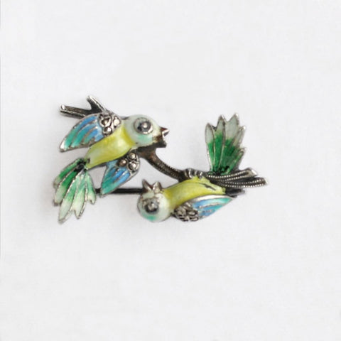 Alice Caviness Sterling Enamel & Marcasites Birds on a Branch Pin