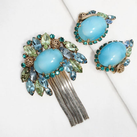 Aqua Moonglow Glass Cabochon Pin & Earrings Set