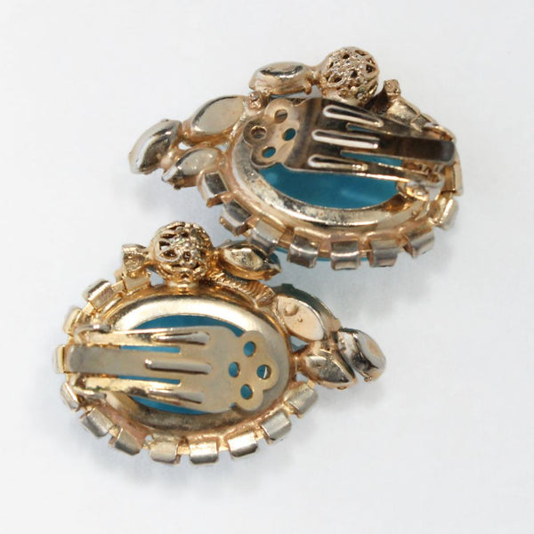 Aqua Moonglow Glass Cabochon Earring Clips - Flotsam from Michigan - 5