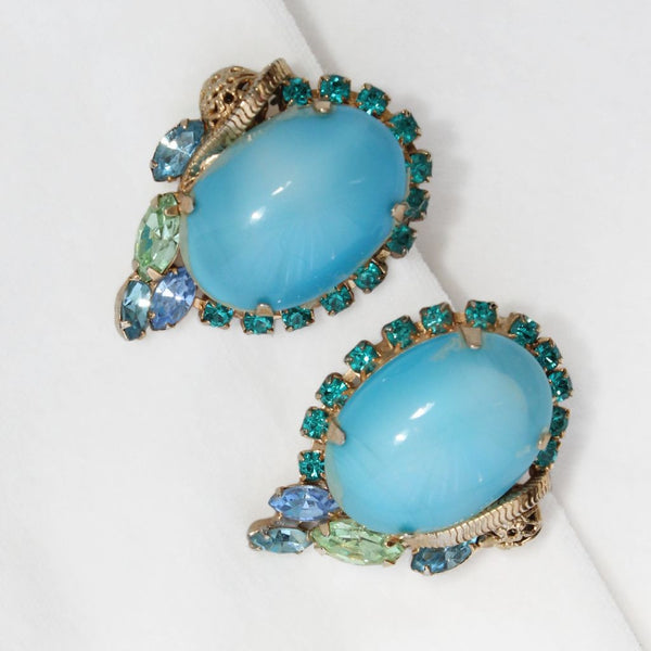 Aqua Moonglow Glass Cabochon Earrings Closeup - Flotsam from Michigan - 3