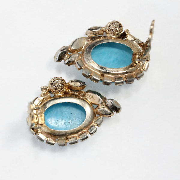 Aqua Moonglow Glass Cabochon Earrings Back - Flotsam from Michigan - 6