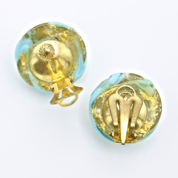 Aqua Swirl Clip Earrings backs - Flotsam from Michigan - 2