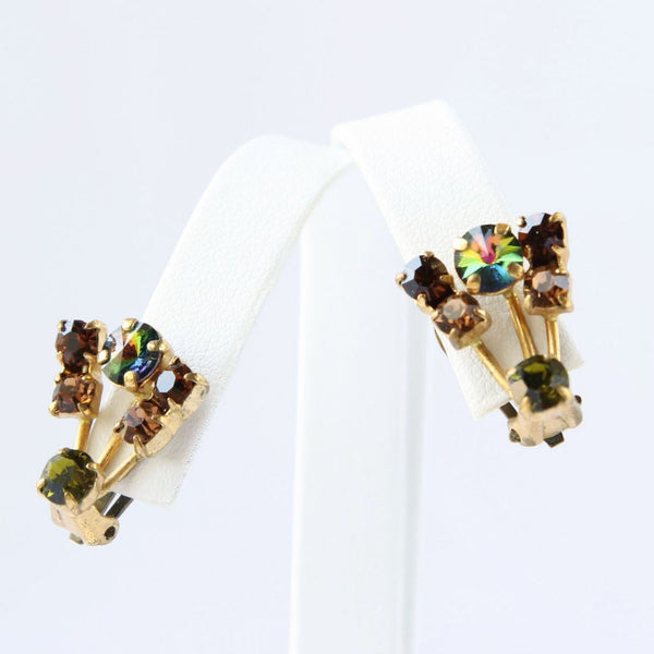Vintage Austria Rhinestone Clip Earrings Rivoli Fall Colors - Flotsam from Michigan  - 1
