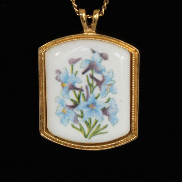 Avon Floral Heritage Ceramic July Larkspur Pendant Closeup - Flotsam from Michigan - 2