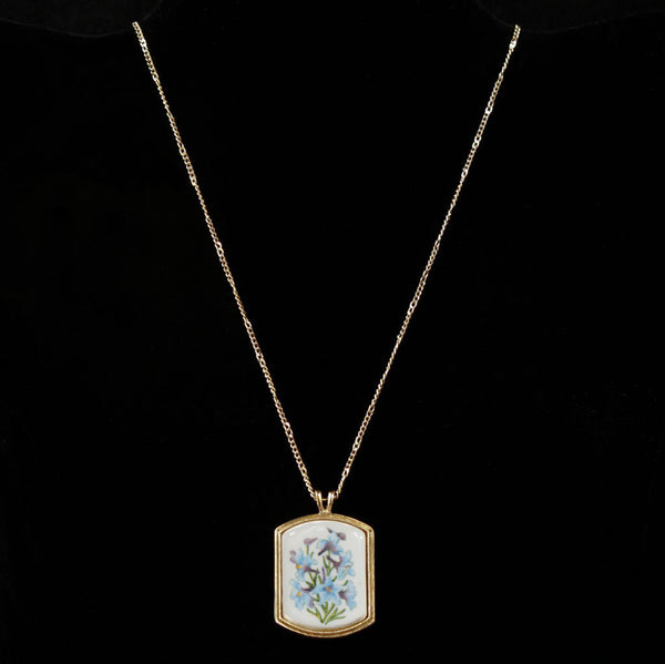 Avon Floral Heritage Ceramic July Larkspur Pendant - Flotsam from Michigan - 1