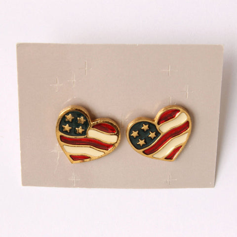 Avon 'Heart of America' Patriotic Pierced Earrings in Original Box - Flotsam from Michigan  - 1