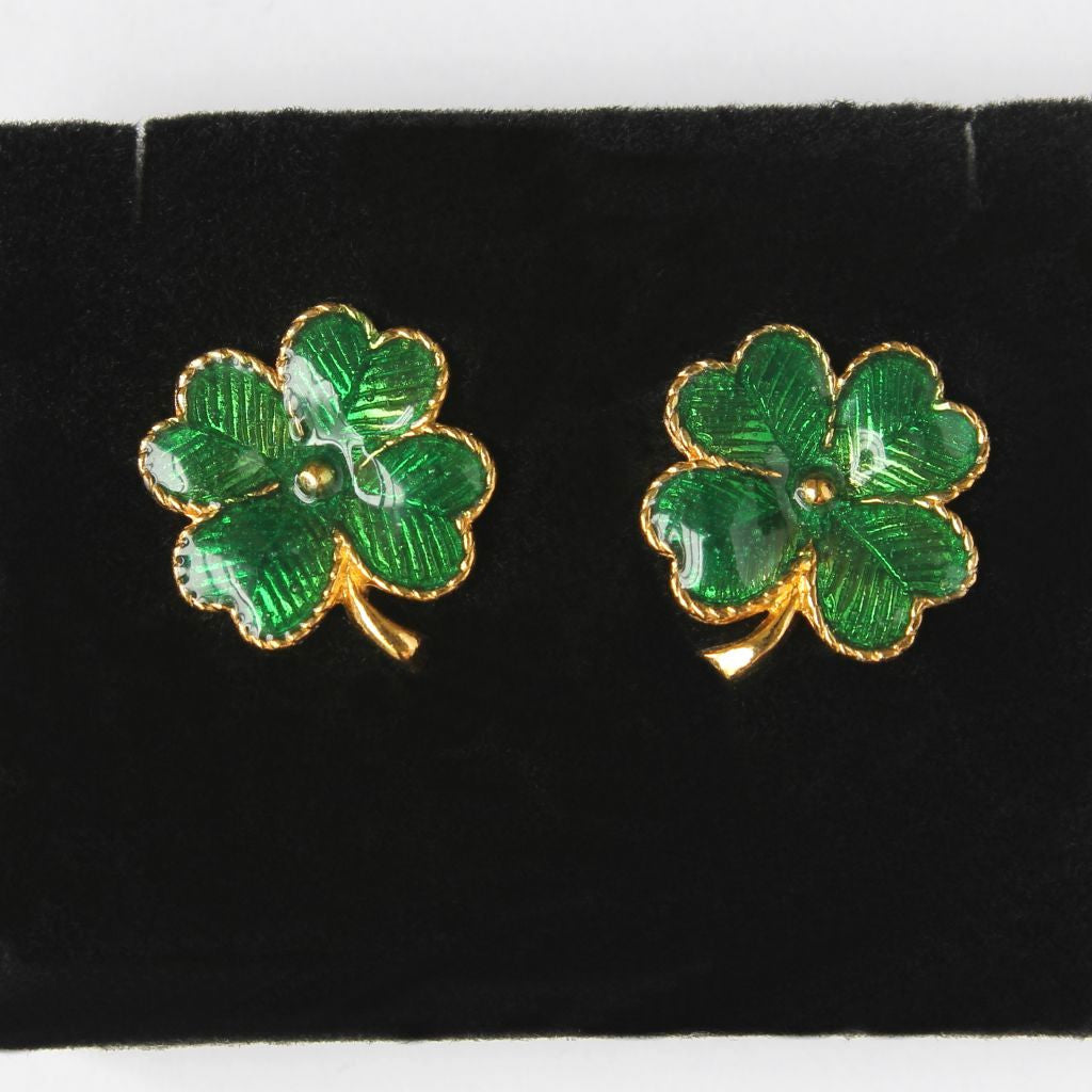Avon Lucky Clover Pierced Earrings New In Box - Flotsam from Michigan - 1