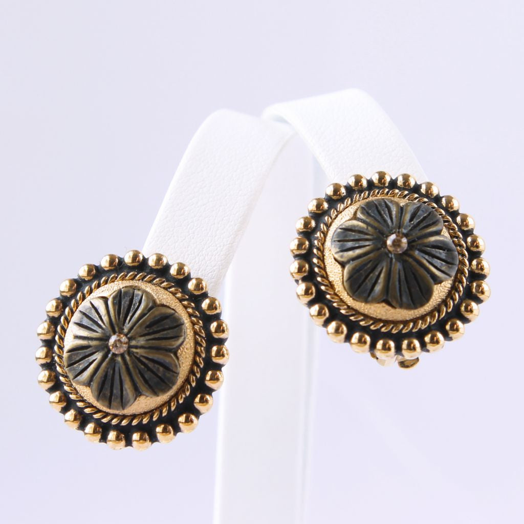 Goldtone Rosette Medallion Clip Earrings - Flotsam from Michigan  - 1