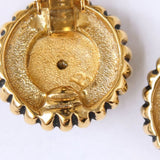 Goldtone Rosette Medallion Clip Earrings - Flotsam from Michigan  - 3