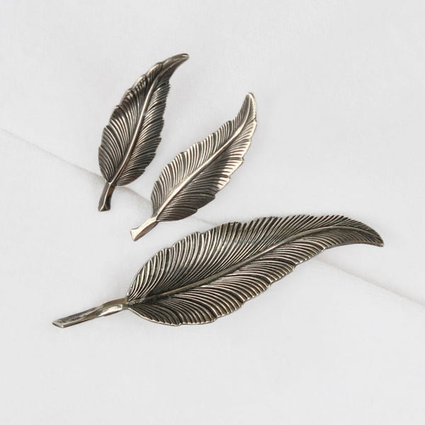Beau Sterling Feathers Brooch & Earrings Set Vintage - Flotsam from Michigan  - 1