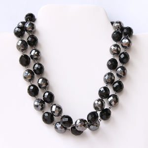 2-Strand Glass Bead Choker Collar Necklace Black and Gray - Flotsam from Michigan  - 1