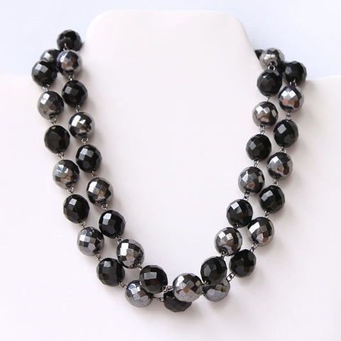 2-Strand Glass Bead Choker Collar Necklace Black and Gray