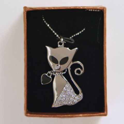 Cat Figural Heart Pendant Necklace in Original Box