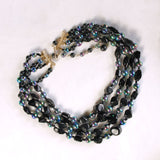 4-Strand Necklace & Earrings Black & Iridescent Set Vintage Midcentury - Flotsam from Michigan  - 3