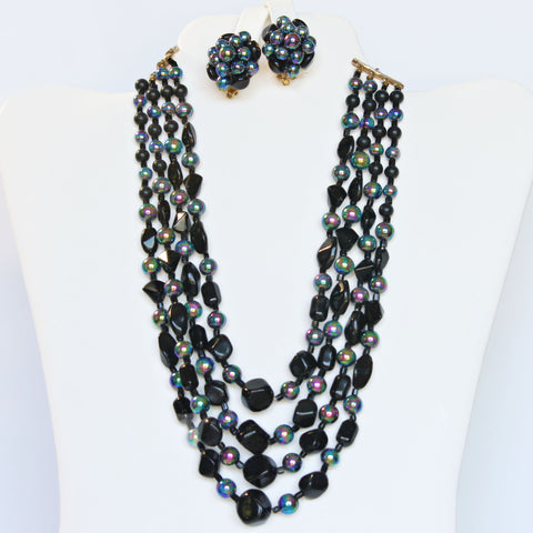 4-Strand Necklace & Earrings Black & Iridescent Set Vintage Midcentury
