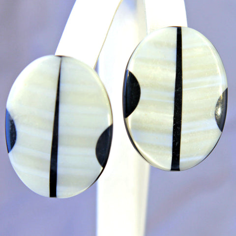 Black & White Oval Earrings - Flotsam from Michigan - 1
