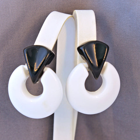 Black and White Doorknocker Earrings Vintage Clip-On
