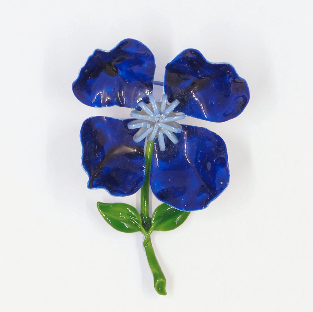 Blue Enamel Flower Pin - Flotsam from Michigan - 1