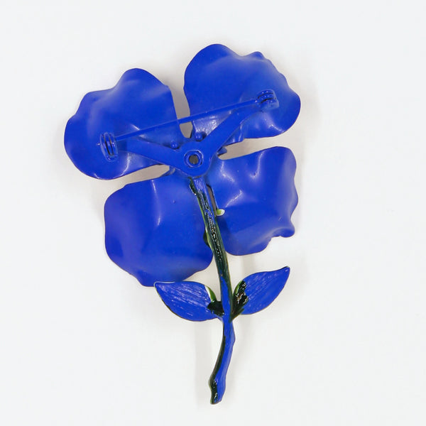 Blue Enamel Flower Pin Back - Flotsam from Michigan - 2