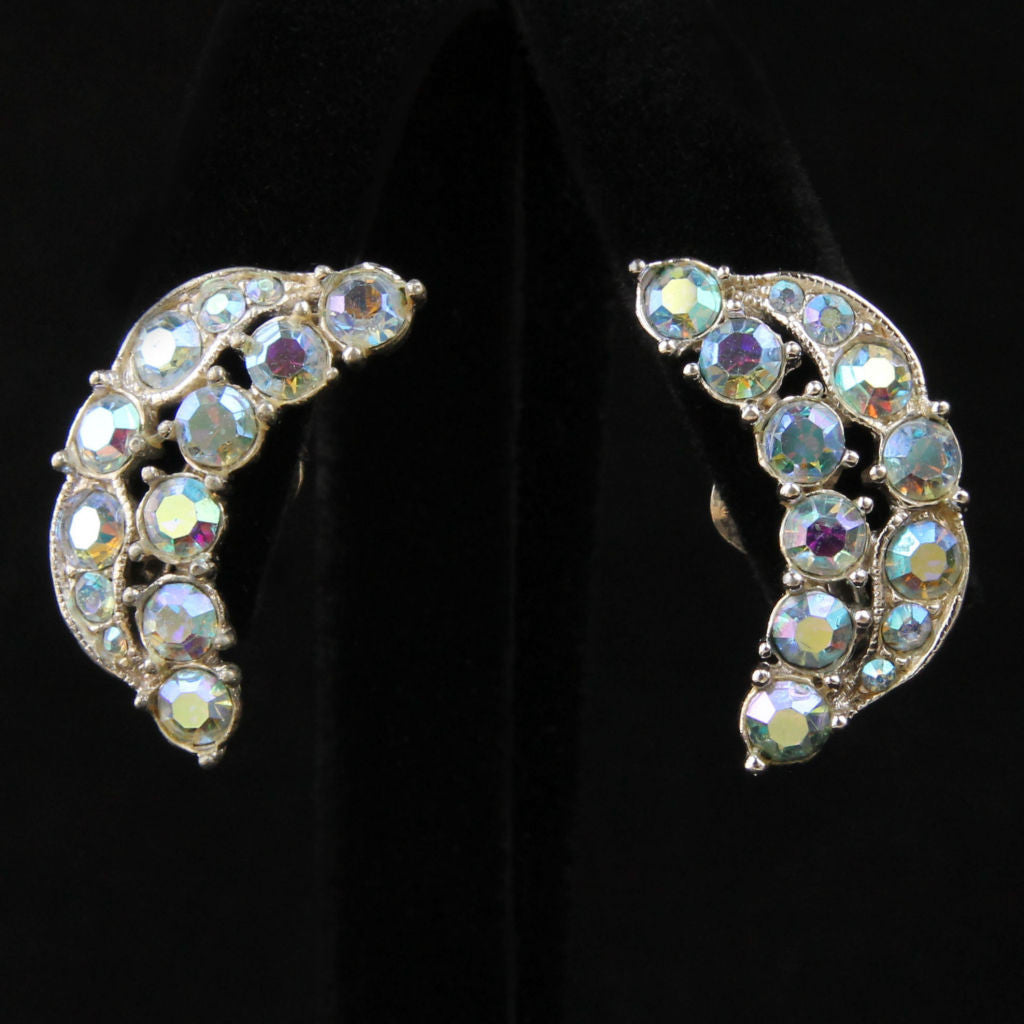 Vintage Bogoff Crescent AB Rhinestone Ear Climber Clip Earrings - Flotsam from Michigan  - 1