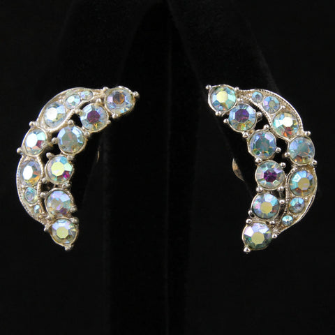 Vintage Bogoff Crescent AB Rhinestone Ear Climber Clip Earrings