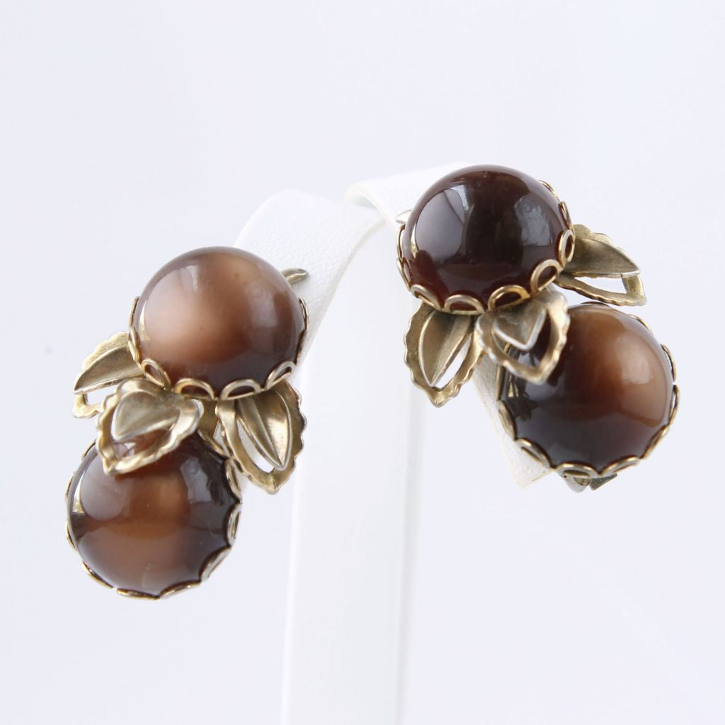 Vintage Brown Moonglow Lucite Ear Climber Clip Earrings - Flotsam from Michigan  - 1
