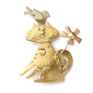 Cat and Bird Mixed Metals Figural Brooch Pin