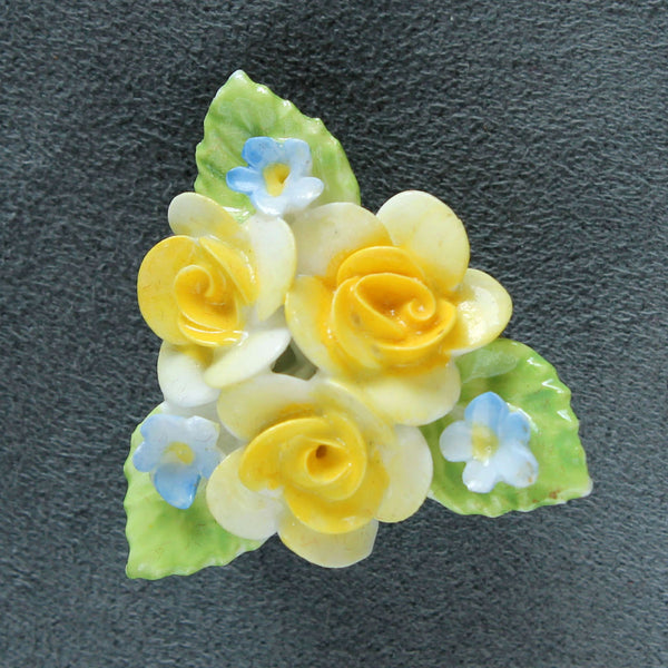 Coalport English China Yellow Roses Brooch Pin Vintage