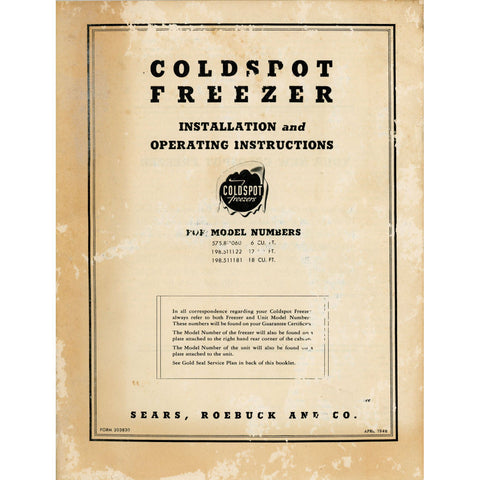 Vintage Coldspot Freezer Installation and Operating Instructions