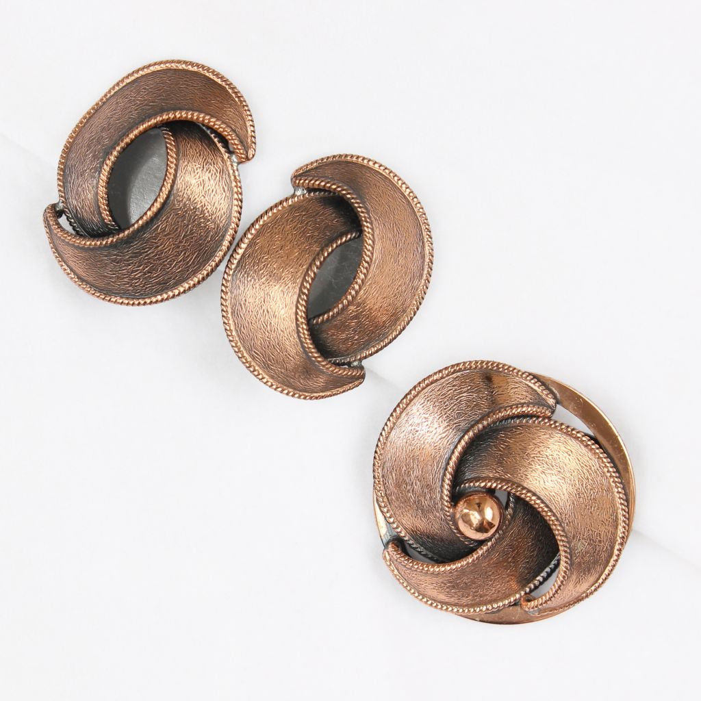 Copper Crescents Brooch & Earrings Set - Flotsam from Michigan  - 1