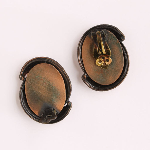 Copper Crescents Brooch & Earrings Set - Flotsam from Michigan  - 5